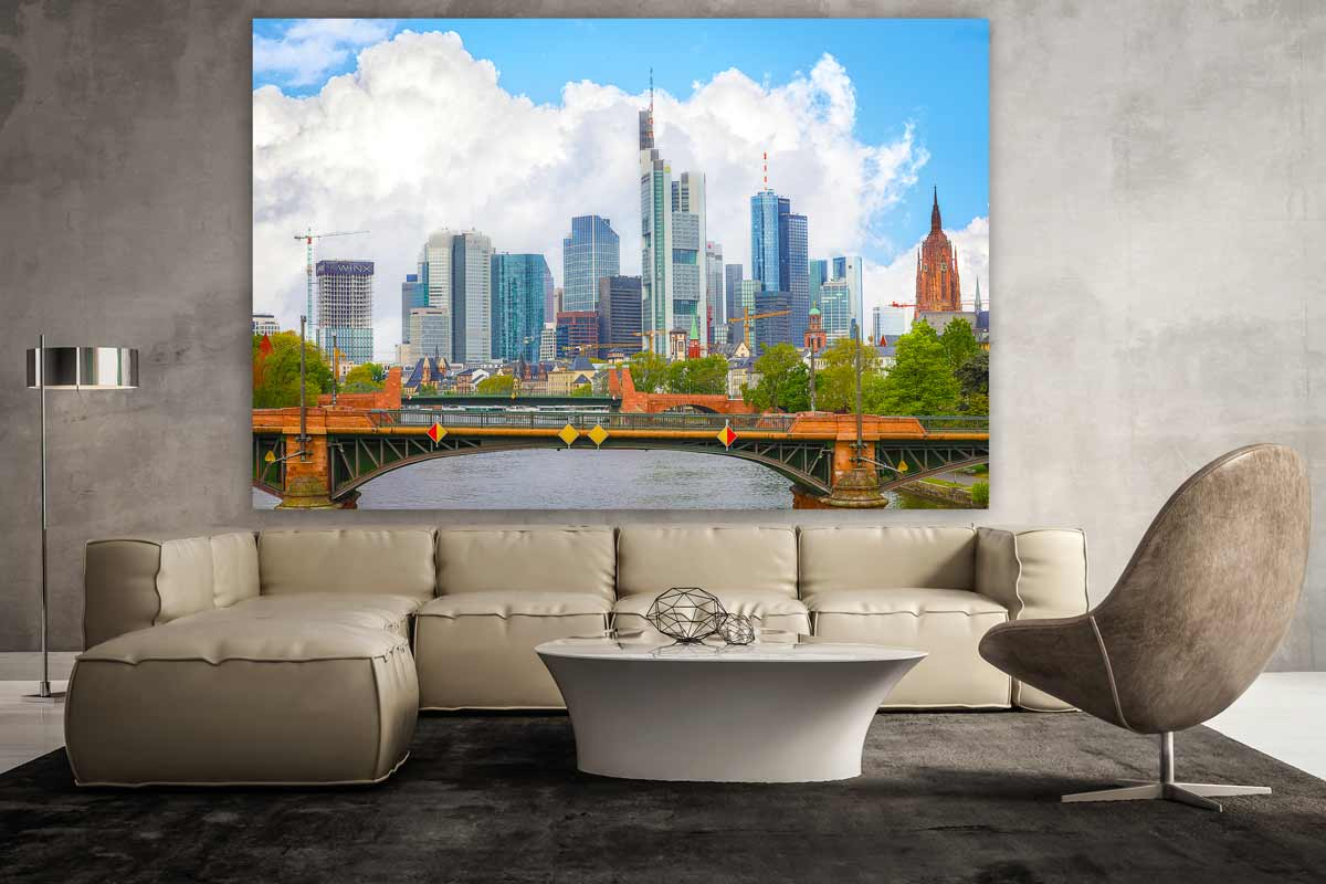 frankfurt panorama bild mit der stadt skyline auf leinwand und acryl. Black Bedroom Furniture Sets. Home Design Ideas