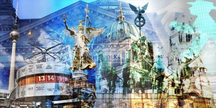 Gemälde Berlin im Pop-Art Design. Moderne Kunst aus Berlin auf Acryl