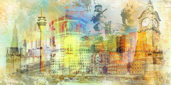 Gemälde Düsseldorf am Rhein. Pop-Art Kunst Bilder auf Acryl & Leinwand