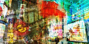 Gemälde New York im Pop-Art Panorama Design. Kunst Motive in XXL