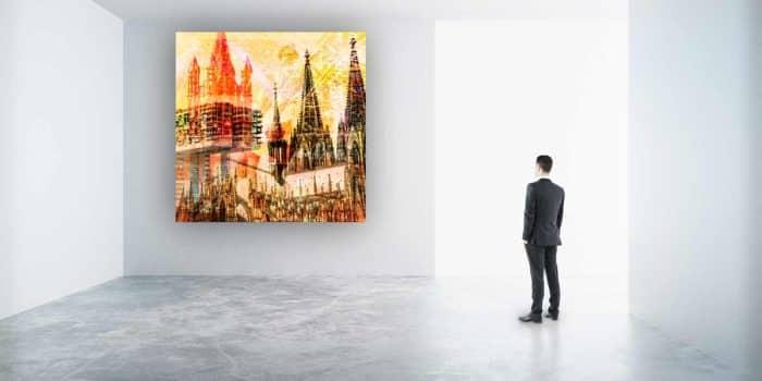 Glasbild Köln mit Kölner Dom. Moderne Panorama Köln am Rhein Collage