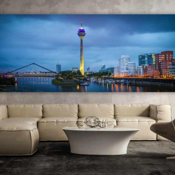 glasbild medienhafen d sseldorf panorama bilder auf acryl. Black Bedroom Furniture Sets. Home Design Ideas