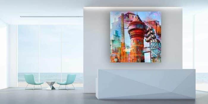 Glasbild Mülheim an der Ruhr. Modern Pop-Art Collage aus dem Ruhrgebiet