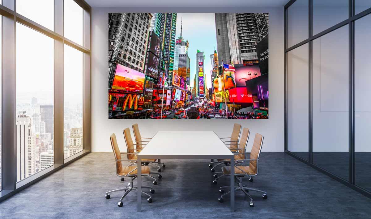 Glasbild New York. Stadt Panorama auf Acryl und Leinwand. Pop-Artwork