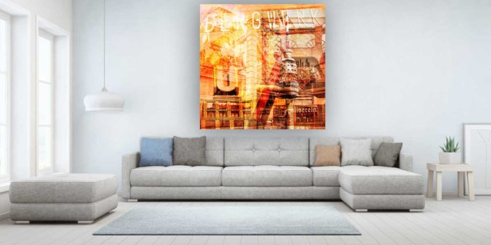 Glasbild Ruhrgebiet im Panorama Style. Stadt Collage auf Acryl oder Alu