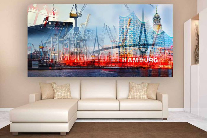 Hamburg Foto Kunst Collage im Panorama Pop-Art Style | Moderne, abstrakte Hamburg Collage