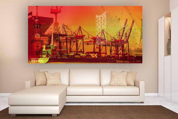 Foto Kunst Panorama Hamburg an der Elbe | Elbphilharmonie und Hamburg Kran Welten Collage