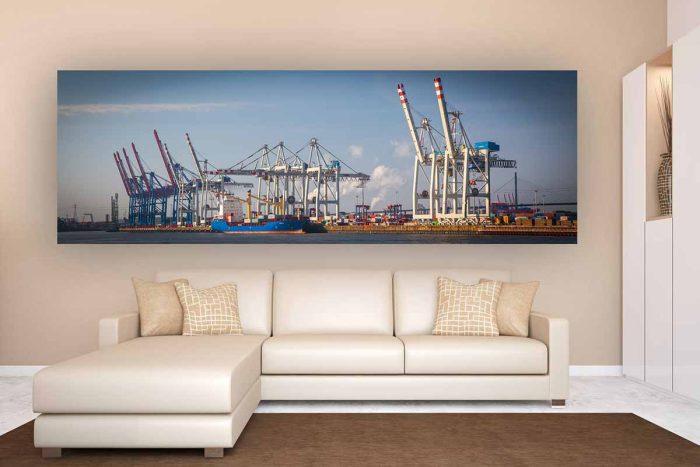 Foto Art Kranpanorama im Hafen von Hamburg | Hamburg Panorama & Skyline Fotokunst