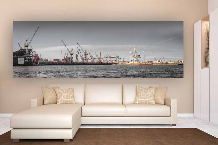 Dockland Hamburg Foto Art | Kunst Panorama Bild vom Hamburger Hafen, XL Panorama von Hamburg
