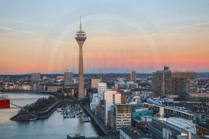 Hafen Düsseldorf Rheinturm |Tolles Skyline Panorama Motiv