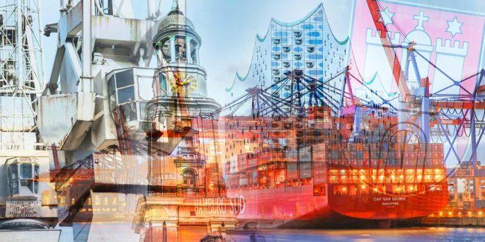 Hafenbilder Hamburg mit Elbphilharmonie und Alster Panorama Kunst
