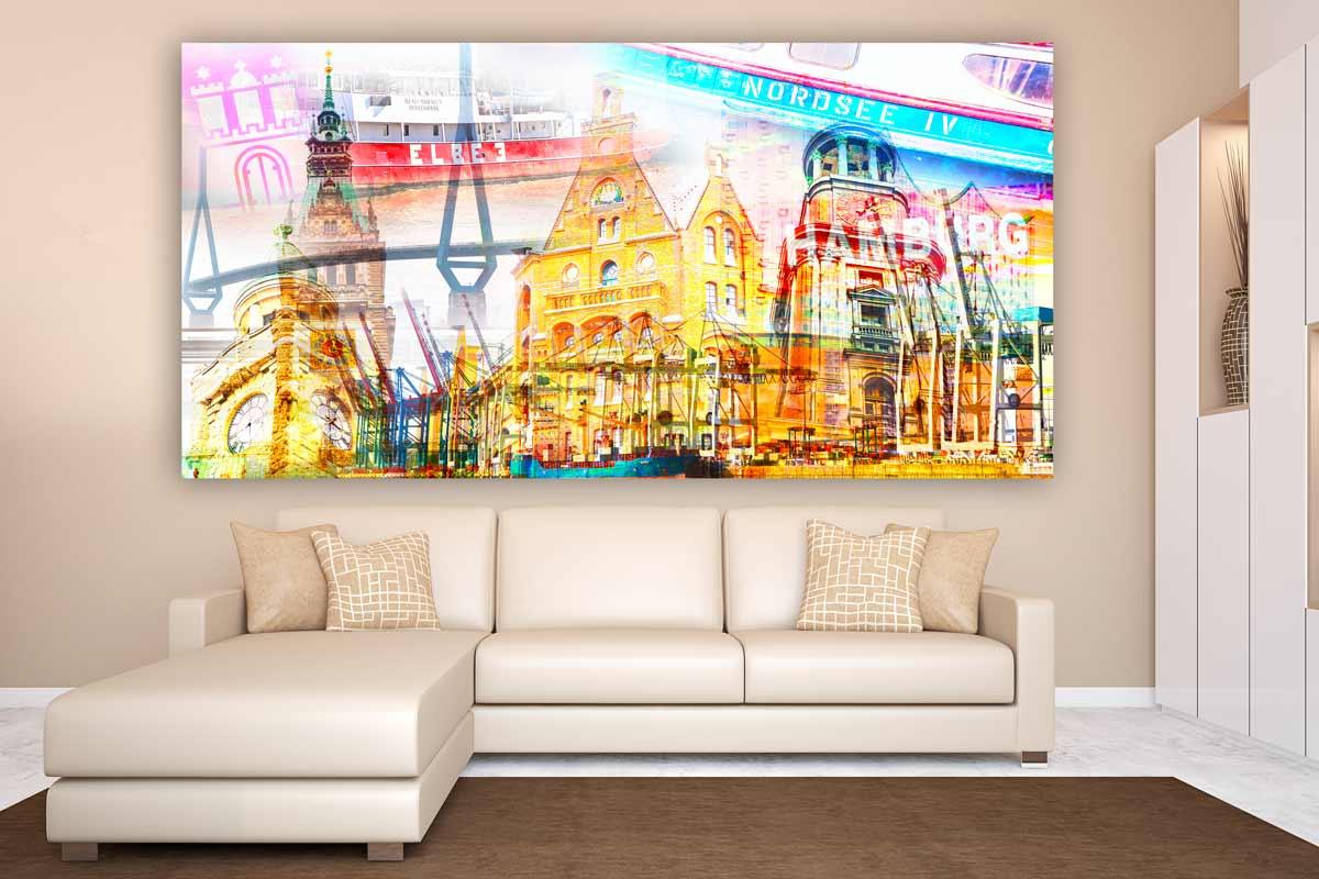 Hamburg fotocollage panorama bilder auf leinwand in - Fotocollage auf leinwand drucken ...