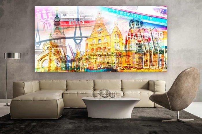 Hamburg Fotocollage - Panorama Bilder auf Leinwand in Galerie Qualität