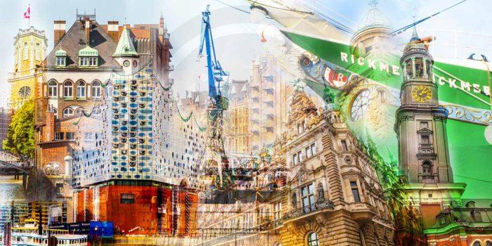 Hamburg Kunst Bilder - Moderne Kunst Collagen von Elbe & Alster