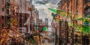 Hamburg Kunstbilder   Elbe Panorama Art Collage der Stadt