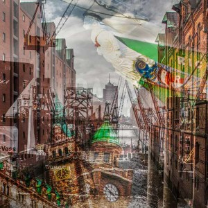 Hamburg Kunstbilder | Elbe Panorama Art Collage der Stadt