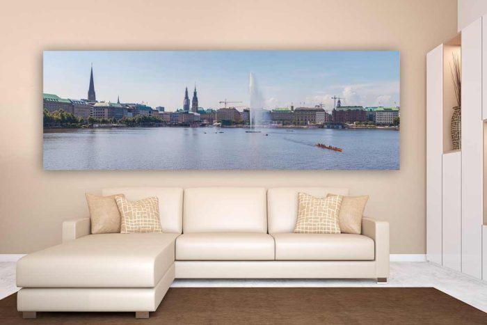 Hamburg Leinwandbild - Panorama Kunst Bild mit Michel und Alster