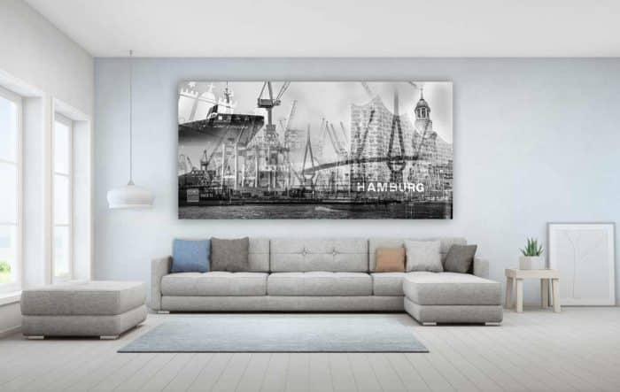 Hamburg Schwarz Weiß Bilder und moderne Kunst Collagen und Motive.