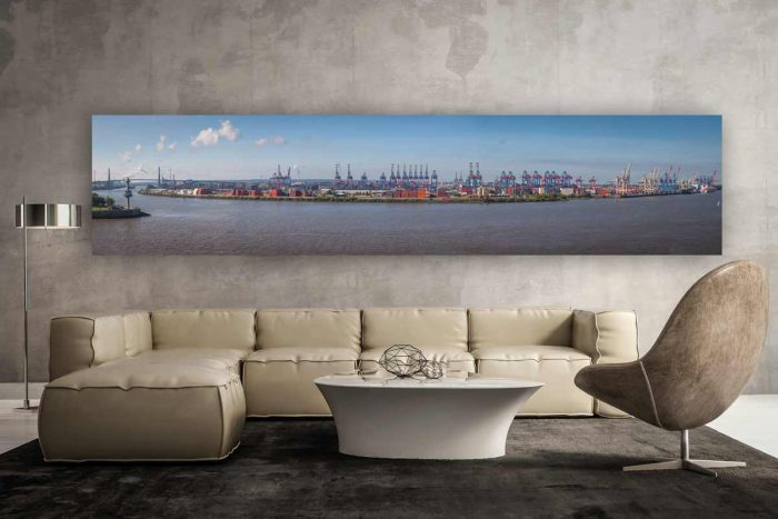 Hamburg Skyline Hafen Panorama Bild. Acryl Kunst von Elbe und Alster