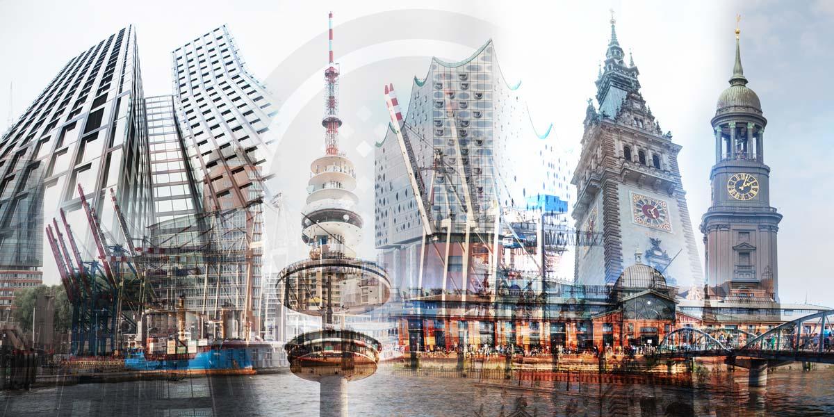Hamburg Stadtpanorama - Kunst Bilder aus Hamburg mit Elbe und Alster