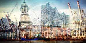 Hamburger Hafen Panorama Collage. Stadt Skyline Bilder der Hansestadt