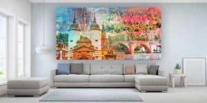 Heidelberg Collage Pop-Art Style. Moderne Kunstbilder für Home und Büro