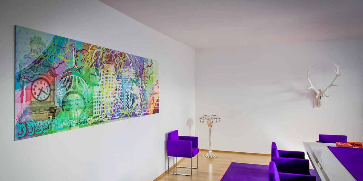 Referenz : Herwarths auf der Düsseldorfer Königsallee, Panorama Kunst Bild in 3x1 Meter