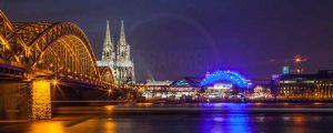 Köln Bild mit Kölner DOM und Hohenzollernbrücke bei Nacht