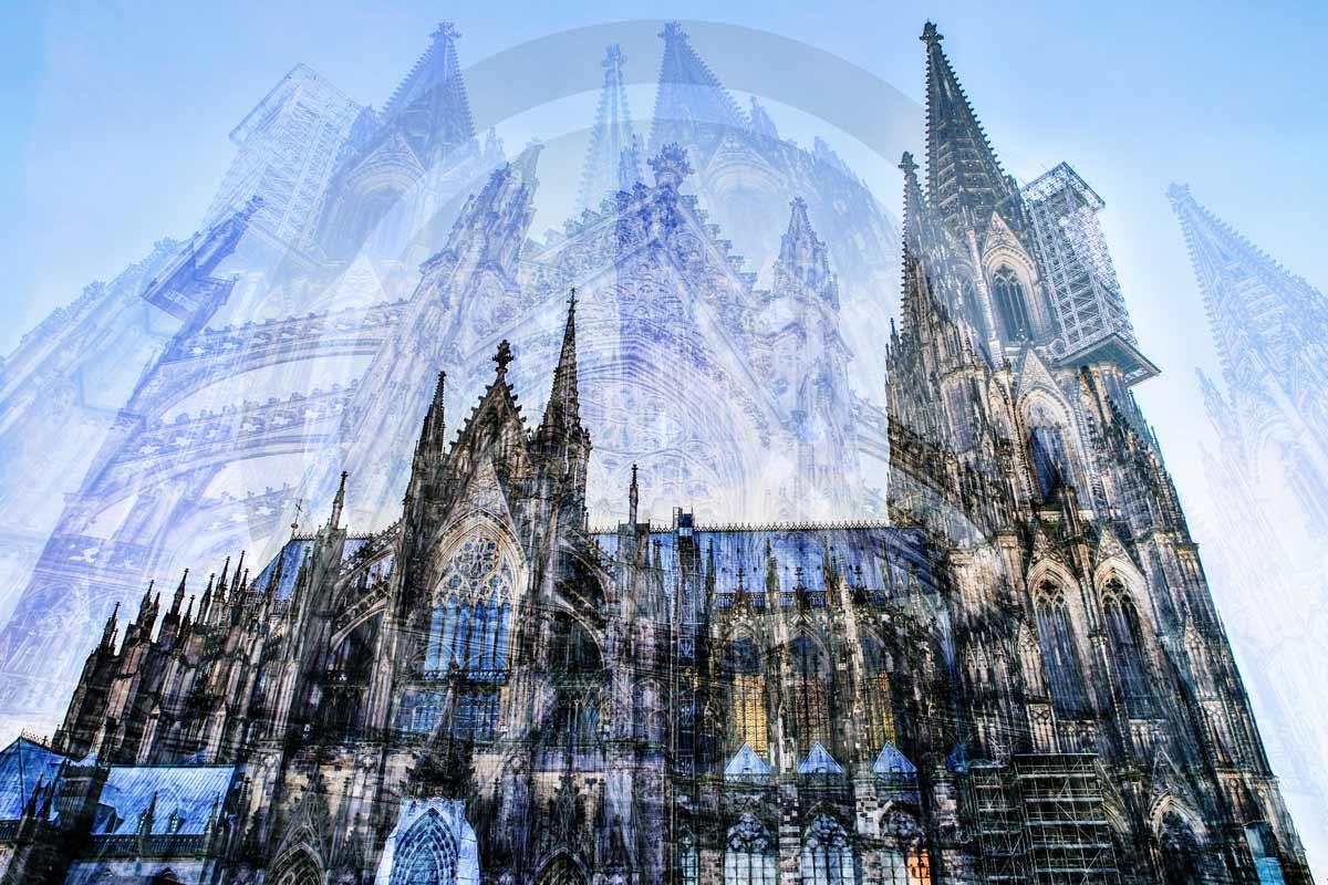 Kölner Dom Collage. Moderne Kunst Motive aus der Stadt Köln auf Acryl