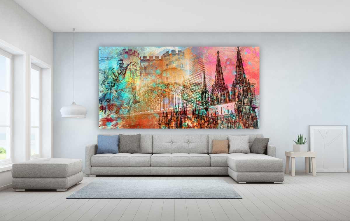 Köln Acrylbilder Und Kunstwerke Mit Kölner Dom Und Hohenzollernbrücke.  Faszinierende Farben Und Xl Panorama Motive