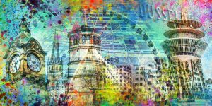 Kollage Düsseldorf am Rhein. Pop-Art Bilder von Altstadt und Medienhafen