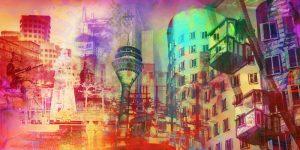 Kunst Bilder aus Düsseldorf als modernes Panorama Pop-Art Kunst Motiv