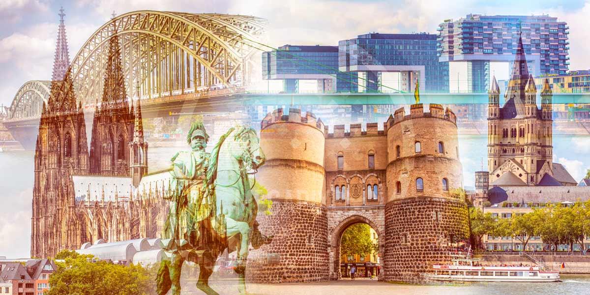 Kunst Collage Köln aus der Domstadt. Rhein und Kölner Dom.