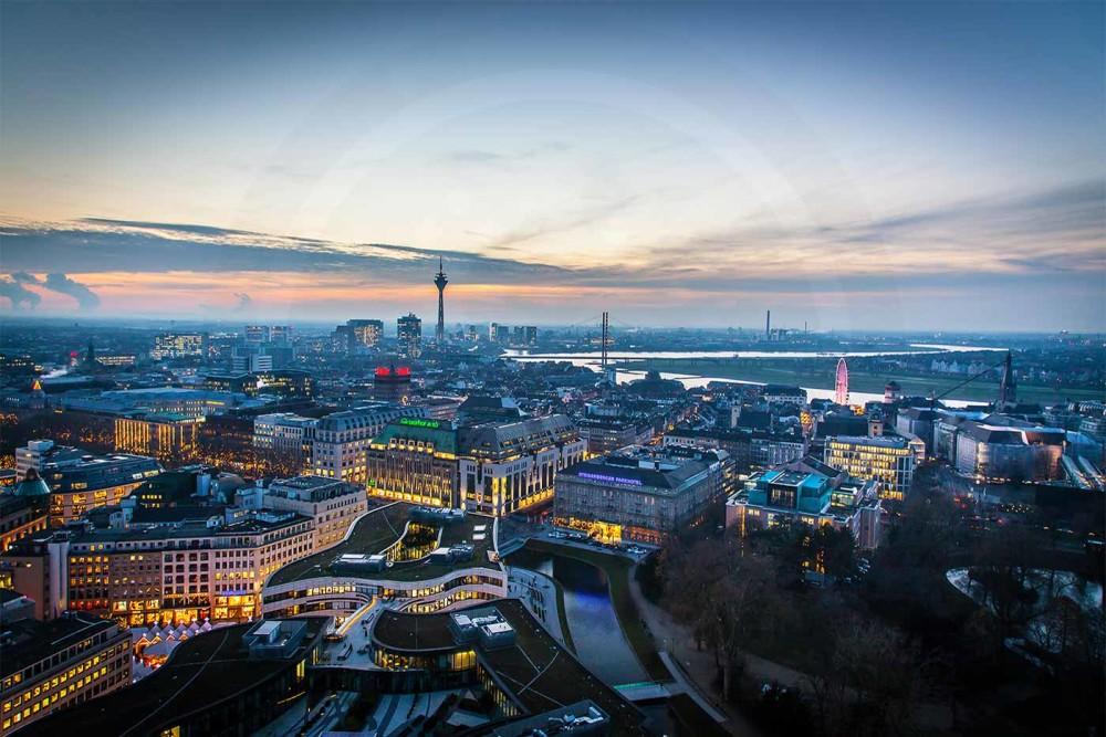 Kunst fotografie d sseldorf panorama ausblick ber die stadt - Dusseldorf bilder auf leinwand ...