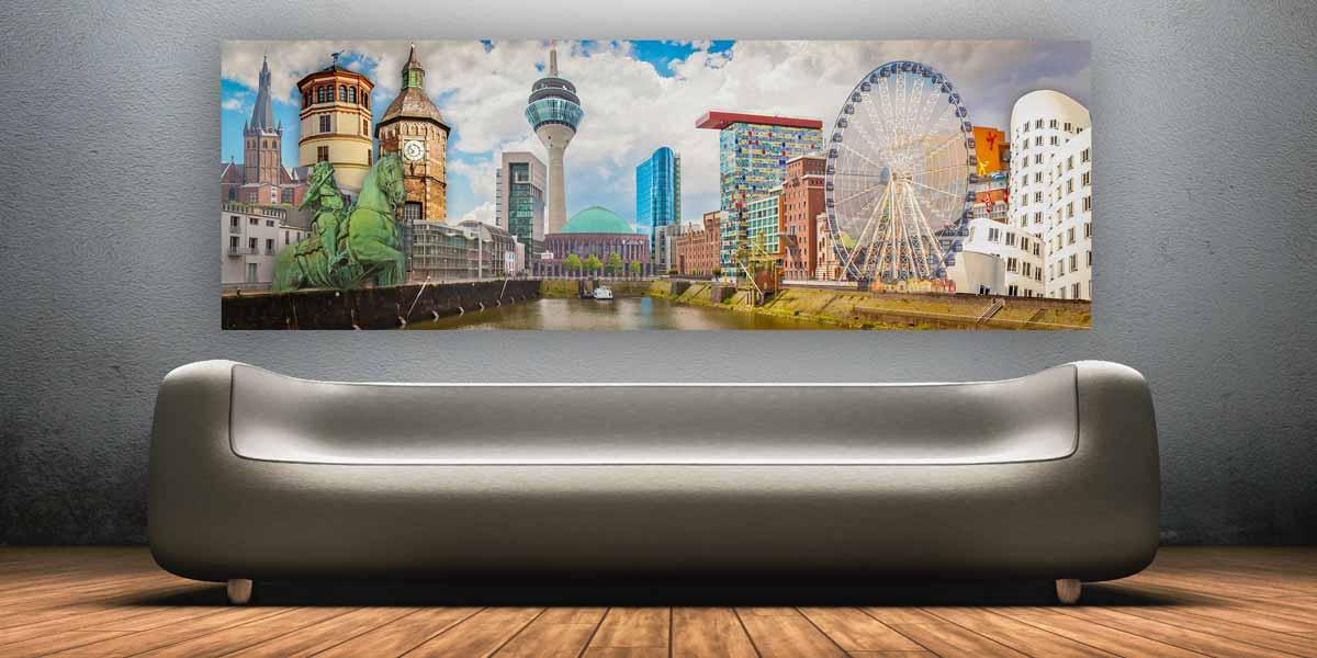 d sseldorf panorama bilder kunst bild collagen und medienhafen. Black Bedroom Furniture Sets. Home Design Ideas