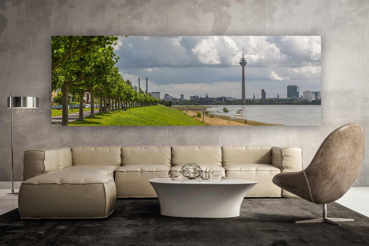 Kunstbild panorama aus d sseldorf am rhein moderne - Moderne leinwandbilder ...