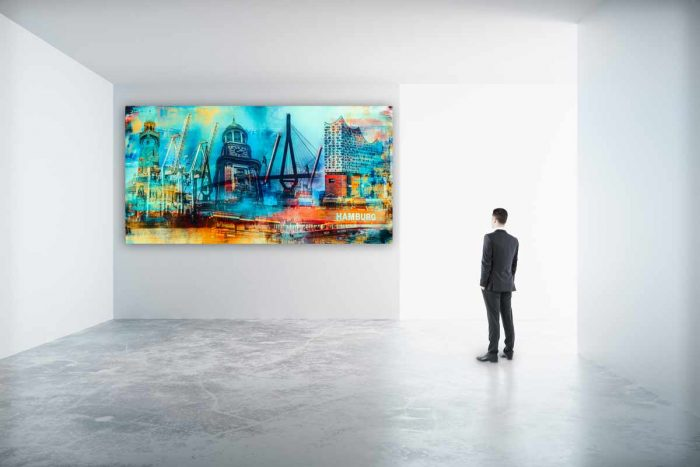 Kunstbild Hamburg Meine Stadt. Acryl Panorama Pop-Art Kunst Collage