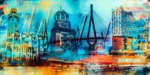 Kunstbild Hamburg Meine Stadt. Acryl Panorama Pop-Art Kunst Collage