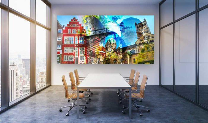 Kunstbilder Neuss am Rhein. Stadt Kunst Bilder und Panorama Motive