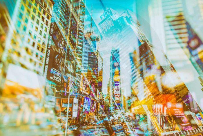 Kunstbild New York City - Pop-Art Stadtcollagen auf Leinwand und Acryl