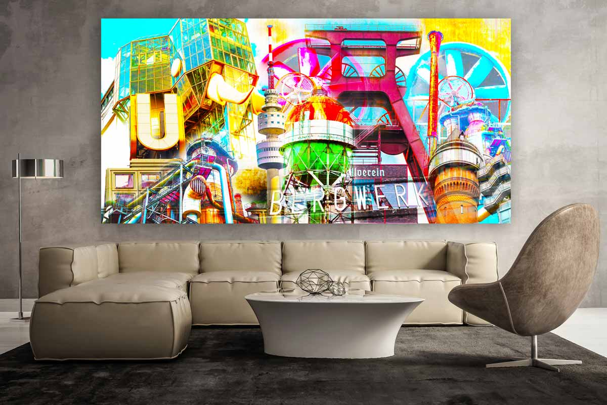 kunstbild ruhrgebiet als pop art panorama bild auf leinwand oder acryl. Black Bedroom Furniture Sets. Home Design Ideas