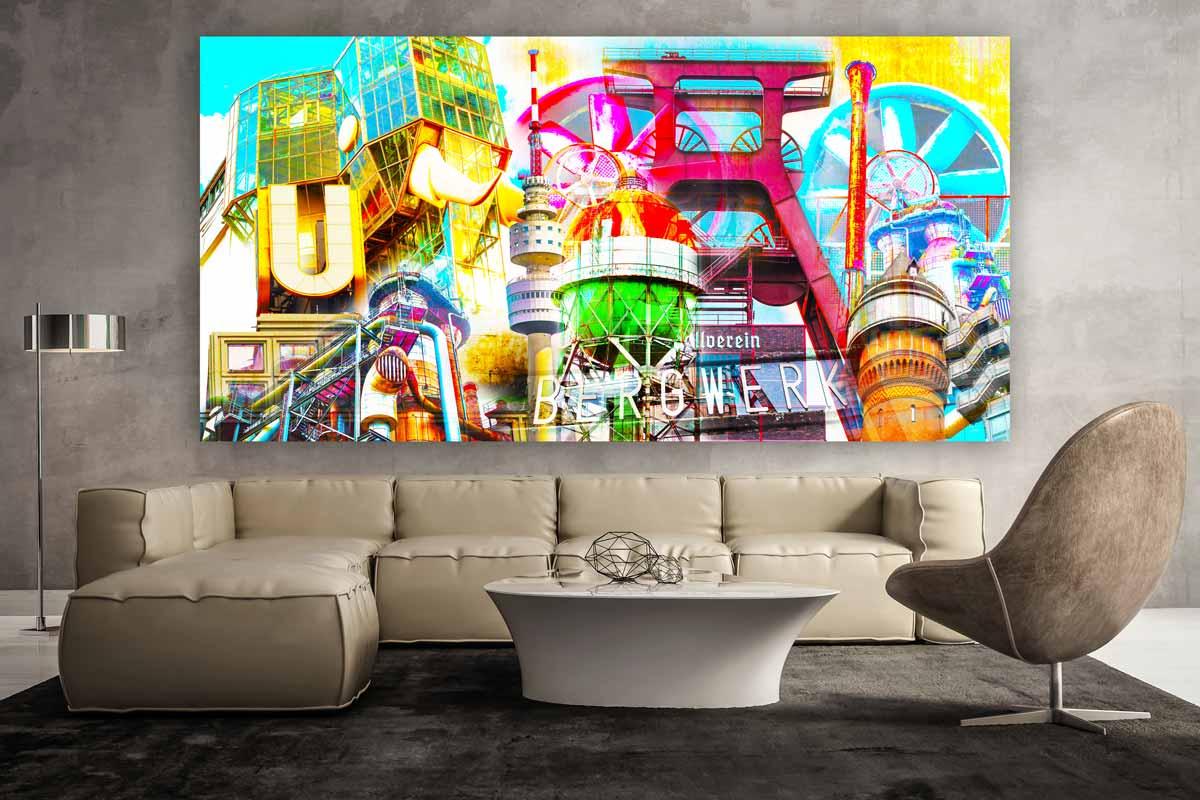 kunstbild ruhrgebiet als pop art panorama bild auf leinwand oder acryl. Black Bedroom Furniture Sets. Home Design Ideas