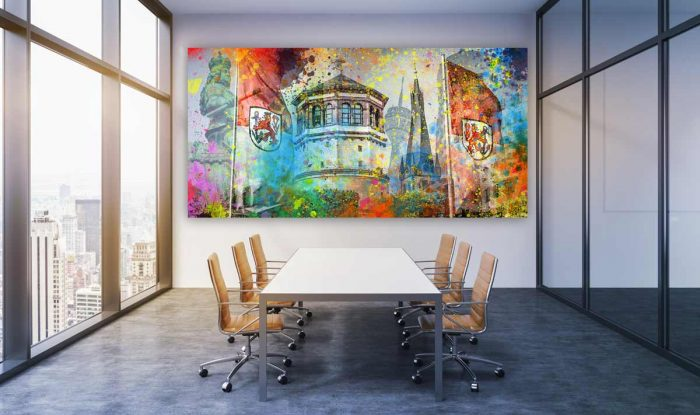 Kunstbilder Altstadt Düsseldorf und Medienhafen. Bürokunst & Wandbilder