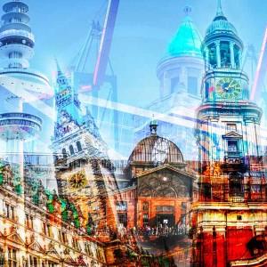 Kunstbilder Hamburg | Moderne Collage im Pop-Art Stadt Design