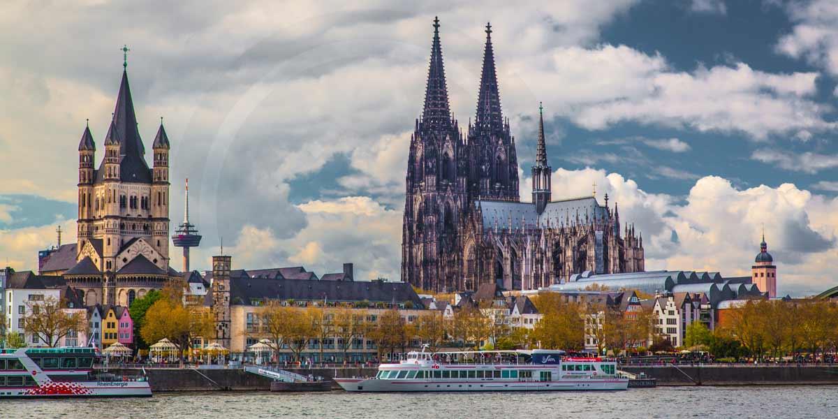 Kunstbilder Köln | Panorama Bild Kölner DOM und Rhein ...