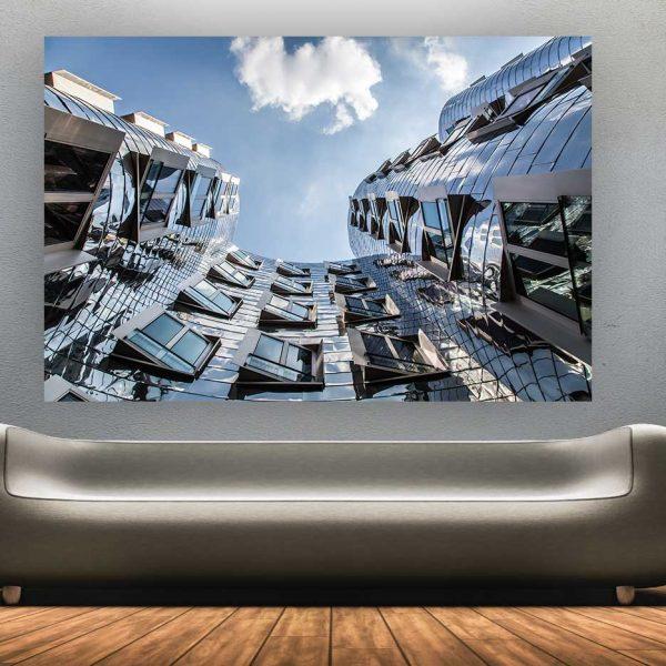 kunstdruck d sseldorf panorama und skyline bilder auf leinwand u acryl. Black Bedroom Furniture Sets. Home Design Ideas