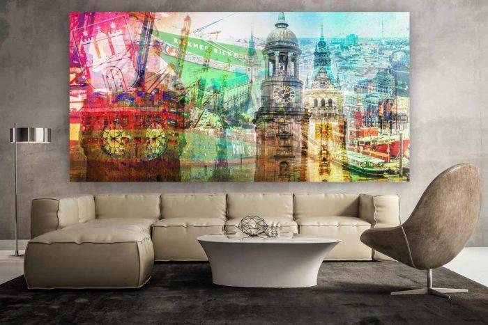 Kunstdrucke Hamburg im Panorama Style. Moderne Pop-Art Wandbilder