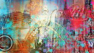 Kunstdrucke Köln Panorama Collage. Moderne Wandbilder vom Dom