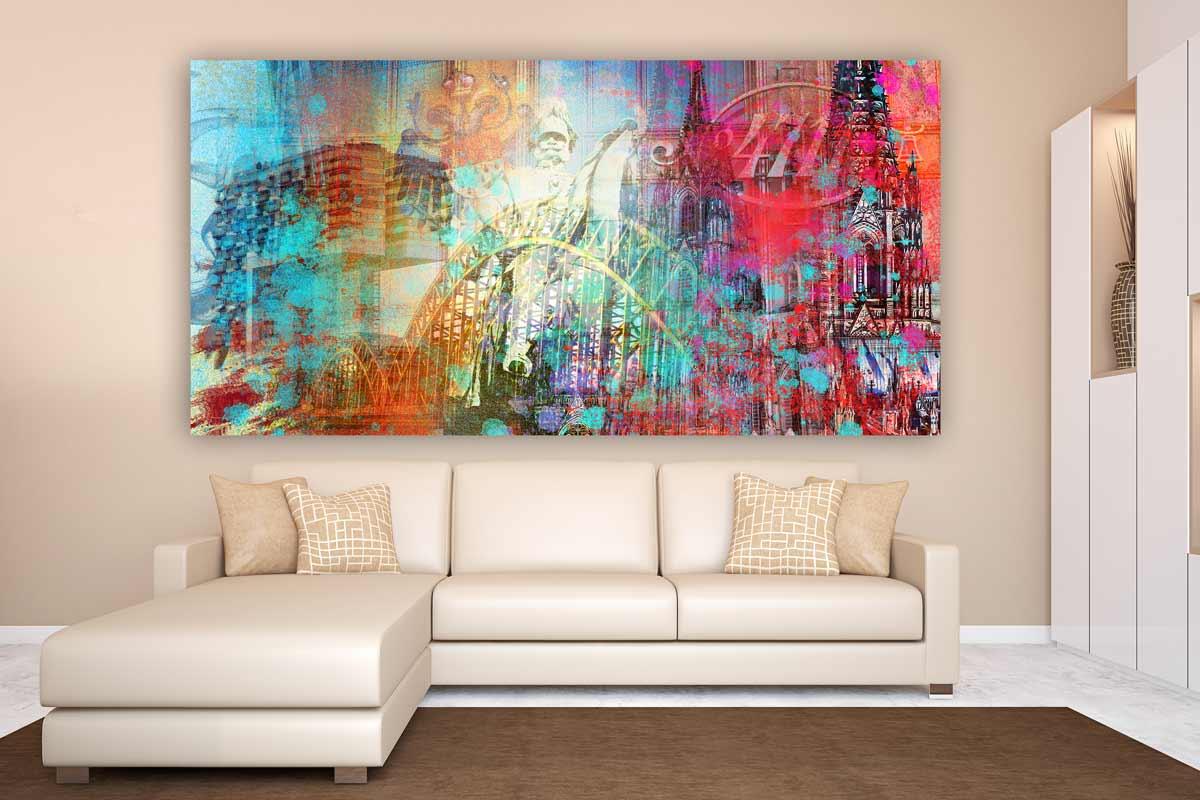 kunstdrucke k ln panorama collage moderne wandbilder vom dom. Black Bedroom Furniture Sets. Home Design Ideas