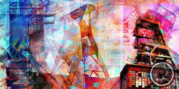 Kunstdrucke Ruhrgebiet im Pop-Art Style. Moderne Leinwandbilder Kunst